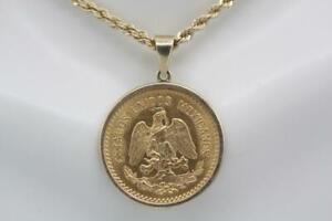 Vintage 1959 Mexico 10 Pesos 22K Gold Coin Charm Pendant 14K Gold Bezel Frame