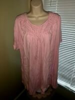 WOMAN WITHIN Braided Criss Cross Neckline Pretty in Pink Blouse Top 1X ❤️tb9j13