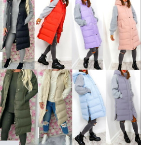 Womens Ladies Oversized Hooded Puffer Gilet Waistcoat Autumn New