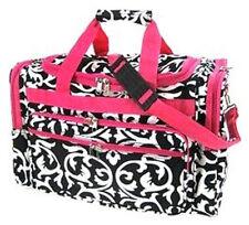 Pink & Black Damask Print Pattern Duffle Bag, Travel Luggage, Gym