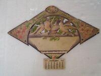 "Antique 18"" x 12 3/4"" 1924 Die Cut Calendar 3-D Birds w/ Applied Sparkles"