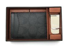 Coach 3 in 1 Signature C Money Clip Card Case Gift Set F41344 - Black