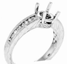 Diamond Ring Setting 0.41ct Baguette Engagement Semi Mount 18k White Gold