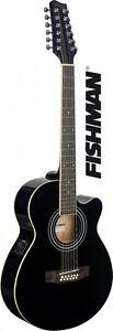 Stagg Cutaway Dreadnought 12 String Acoustic Electric Guitar BLACK FISHMAN PU
