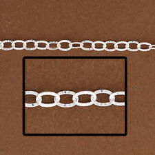 1ft, Sterling Silver Oval Cable Chain. Diamond Cut Cable, Chain by Foot 1808DC