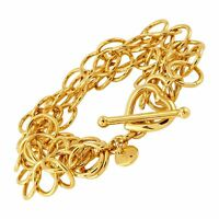 "Italian-Made Circle Link Bracelet in 18K Gold-Plated Bronze, ""8.5"""