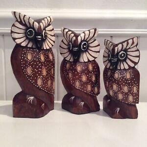 SET OF 3 TIMBER OWLS
