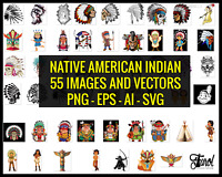 Native American Indian Bundle 55 High Quality Images, PNG, SVG, AI, EPS Files.