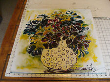 "Original ROSE SUSLOVICH ART: FLOWERS IN SPOTTED VASE, 24x22"", signed, on board"