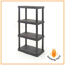 PLASTIC STORAGE SHELVES 4 Tier Durable Unit Rack Indoor Garage Shelf Organizer