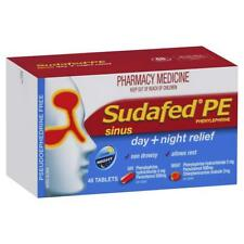 * SUDAFED PE SINUS DAY + NIGHT RELIEF 48 TABLETS FOR NASAL CONGESTION RUNNY NOSE