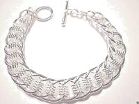 mens/womens chain link bracelet 12mm heavy 8 inch 925 sterling silver