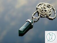 Moss Agate Crystal Point Pendant Natural Gemstone Necklace Healing Stone Chakra
