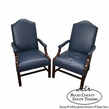 Quality Pair Of Blue Leather Chippendale Style Office Arm Chairs (B)