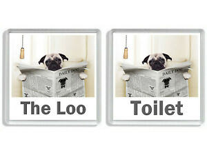 PUG DOG READING A NEWSPAPER ON THE LOO Novelty Toilet Door Signs