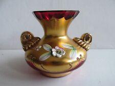 Czech/Bohemian Cranberry Glass Gilt Mini Vase Hand-Painted Enamel Floral Design