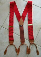 Albert Thurston London red blue dog grosgrain brown leather braces suspenders