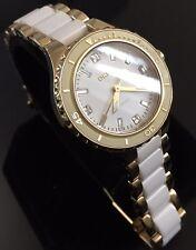 Ladies DKNY Two Tone Gold White Ceramic NY8499 Diamond Genuine Designer Watch
