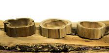 1 Teak Holz Schale 12x3cm naturbelassen beige hellbraun flache Holzschale Teak