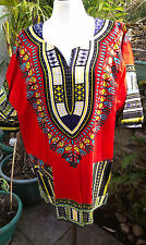 Top Camisa Blusa hippie boho festival étnico Estampado Rojo Tamaño Libre Unisex