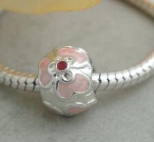 HANDMADE SILVER EUROPEAN Charm Bead for Bracelet H52 PINK ENAMEL FLOWER DAISY
