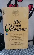 The Great Quotations J. Donald Adams George Seldes 1967 1st Printing Pocket Book