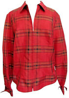 Coldwater Creek Red Jacket  Medium Plaid Zip Up Lightweight Christmas Silk Blend