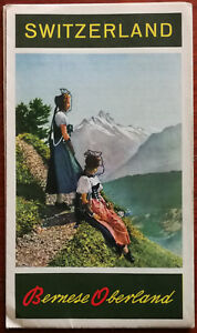 Switzerland Bernese Oberland tourist fold-out Brochure / Map 1950's