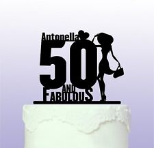 Personalised 50th and Fabulous with Hat Cake Topper