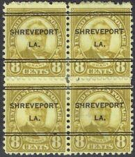 US:1927 8c 4th BUREAU with SHREVEPORT LA precancel (640-247). DLE block of 4!