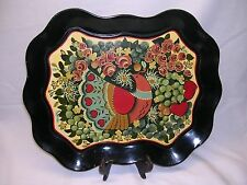 TOLEWARE FOLK ART PAINTED TRAY  Bird Flowers Design