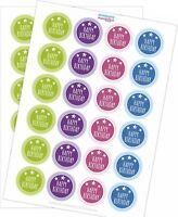 48 Aufkleber Happy Birthday Etiketten Sticker Party Geburtstag vintage Set Mix