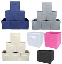 6pc Folding Storage Basket Bins Cube Set for Nursery Shelves Home