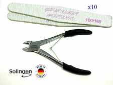 "5"" Solingen Toe Nail Nipper With Rubber Grip & 10pcs Zebra Nail File Set Germany"