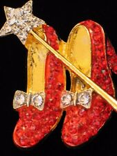 "WIZARD OF OZ DOROTHY WAND RUBY RED SHOES SHOE SLIPPERS SLIPPER BROOCH PIN 2"" LRG"