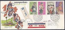 LAOS 1964 REGISTERED AIR MAIL FDC FEB 15 1964 Sc 100 C43 5 ON CACHETED COVER TO