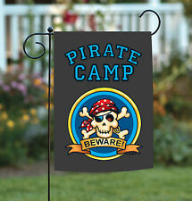 Toland Pirate Camp 12.5 x 18 Skull Crossbones Eye Patch Beware Garden Flag