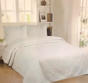 JESSICA WHITE EMBROIDERED BEDSPREAD COVERLET SET 3 PCS KING SIZE 100% MICROFIBER