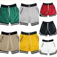 Mens Mesh Breathable Sports Shorts Gym Fitness Quick Dry Basketball Zip Pocket