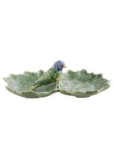Bordallo Pinheiro Cinerária Double Leaf 22 with Blue Bird Olive Dish