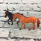 "Vintage Model Horse Figures Lot Of 2 Orange & Chestnut Realistic 4"" Collectible"