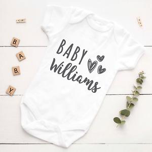 Personalised Pregnancy Announcement Baby Vest Grow Bodysuit Surname