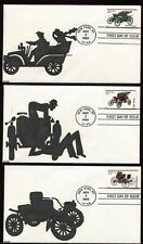 #3019-23 32c Antique Autos Set of 5 FDC's Kribbs Hand Painted Cachet #3/4 FD5467