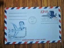 JOHN F. KENNEDY #UC38 11c AIR LETTER AEROGRAMME 1965  FLEETWOOD  FDC BOSTON