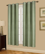 1P PANEL WINDOW SILVER GROMMET CURTAIN FOAM LINED INSULATE BLACKOUT SAGE GREEN