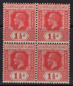 GILBERT & ELLICE IS. SG29 1924 1½d SCARLET BLOCK OF 4 MNH