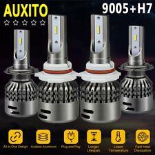 4X AUXITO 9005 H7 LED Headlight Bulbs 96W 18000LM High + Low Beam 6500K CSP KIT