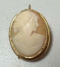 VINTAGE ESPO-FLEX REAL CARVED SHELL CAMEO 12K GOLD GF PENDANT BROOCH PIN