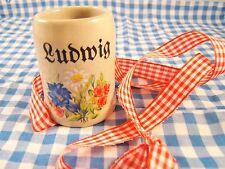 German Bavarian Beer Stein Shot Glas Ludwig Oktoberfest Lederhosen Dirndl  EUC