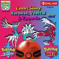 Shiny Xerneas, Yveltal and Zygarde Sword & Shield
